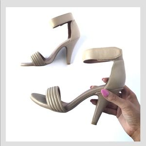 Jeffrey Campbell ankle heel tan leather strap